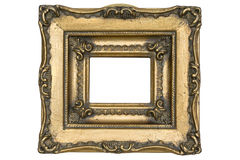 Antique wooden frame. Isolated on white Stock Photography