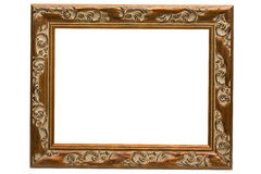 Antique wooden frame. Isolated on white Royalty Free Stock Photography