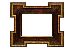 Antique wooden frame. Isolated on white Stock Photos