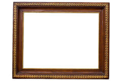 Antique wooden frame. Isolated on white Royalty Free Stock Images