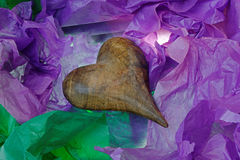 Antique Wooden Heart in Tissue Paper Royalty Free Stock Image