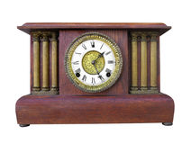 Antique wooden mantle clock isolated. Royalty Free Stock Photos