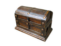 Antique wooden old chest on white background Stock Photography