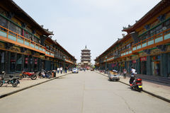 Antique Wooden Pagoda in Ying County, Shanxi Province Street Royalty Free Stock Photos