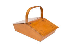 An Antique Wooden Picnic Basket stock photo