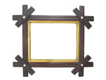 Antique wooden picture frame. Isolated antique wooden frame with gold interior Royalty Free Stock Image
