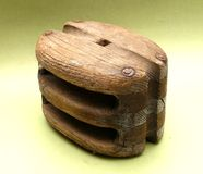 Wooden pulley Royalty Free Stock Image
