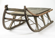 Antique Wooden Runner Sled. A well loved, antique wooden runner sled shot on white Royalty Free Stock Photo