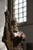 Antique wooden sculpture of king David Royalty Free Stock Images