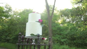 On the antique wooden stand beautiful wedding cake in the sunlight stock video footage