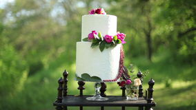 On the antique wooden stand beautiful wedding cake in the sunlight stock footage