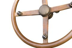 Antique wooden steering wheel Royalty Free Stock Image