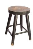 Antique Wooden Stool. Antique, timeworn painted wooden stool, white iso Stock Image