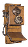 Antique wooden telephone, isolated Stock Photo