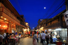 Antique wooden town at dusk in Chiang Khan Royalty Free Stock Image