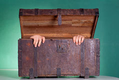 Antique wooden trunk Stock Photos