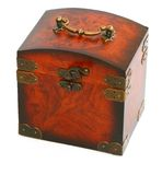 Antique wooden trunk on white Stock Images