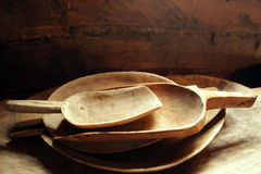 Antique wooden utensils dishes villiage Stock Photography
