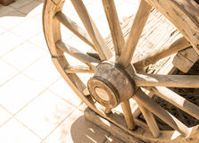 Antique wooden wagon wheel Stock Photography