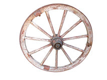 Antique wooden wheel isolated on white Royalty Free Stock Photos