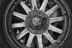 Antique Wooden Wheel. Antique Tire and Wood Wheel for Vintage Classic Car royalty free stock photo