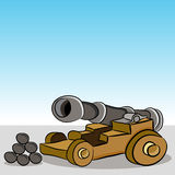 Antique Wooden Wheeled Cannon. An image of a antique wooden cannon with cannonballs Stock Image