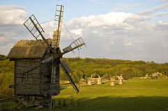 Antique wooden windmill Royalty Free Stock Photos