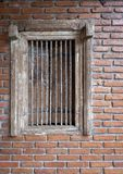 Antique wooden window with brick wall decoration royalty free stock image