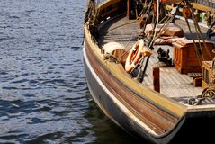 Antique wooden yacht standing on the dock Stock Photography
