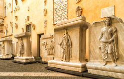 Antique works of art in the Capitoline Museum in Rome Stock Image
