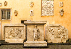 Antique works of art in the Capitoline Museum in Rome Royalty Free Stock Photo