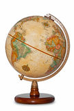 Antique world globe isolated clipping path. Antique world globe isolated on a white background with clipping path stock photography