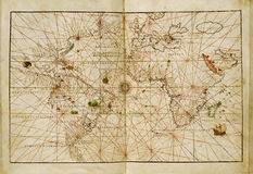 Antique world map. Antique map of the world Royalty Free Stock Image