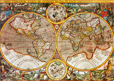 Antique World Map. Antique 17th century Mappa Mundi world map closeup Royalty Free Stock Photography