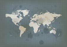 Antique world map and ink splatter Stock Image