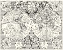 Antique World Map, royalty free illustration