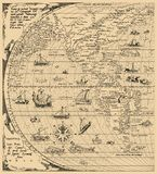 Antique World Map, North America, South America, China. Year 1520 vector illustration