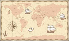 Antique world map. Vintage compass and retro ship on ancient marine map. Old countries boundaries vector illustration royalty free illustration