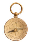 Antique Worn and Faded Old Brass Compass Stock Photo