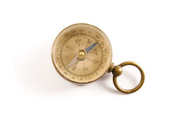 Antique Worn and Faded Old Brass Compass Isolated Stock Image