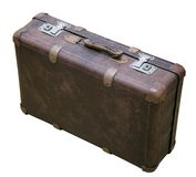 Antique worn leather suitcase isolated Stock Images