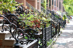 Antique Wrought Iron Railing and Fence. Around Victorian house entrance Royalty Free Stock Photography