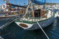 Antique yacht berthed La Ciotat harbour Royalty Free Stock Image