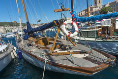 Antique yacht La Ciotat harbour royalty free stock images