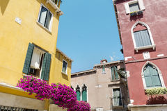 Antique yellow buildings with terrace with pink blooming petunia flowers  in Venezia. Antique yellow house with balcony with pink blooming petunia flowers  in Stock Image