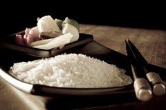 Antiqued Reis und Vegtables Lizenzfreies Stockfoto