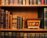Antiques. Books and wooden box Royalty Free Stock Photos