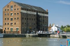 Antiques Centre. Gopsill Brown`s Sack Warehouse, by Gloucester Lock royalty free stock photo
