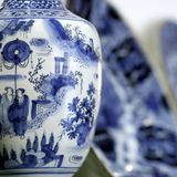 Antiques chinese pottery detail stock photo