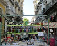 Antiques Fair of San Telmo. Stalls selling antiques in San Telmo, old and picturesque neighborhood of Buenos Aires Argentina royalty free stock photos